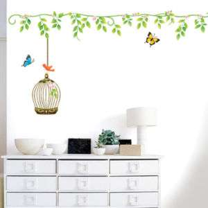 IVY & BIRDCAGE MURAL VINYL WALL ART DECOR DECAL STICKER