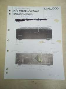 Vtg Kenwood Service/Repair Manual~KR V8040/V8540 Receiver~Original