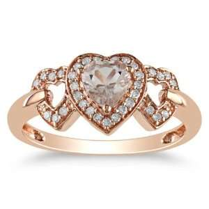 10K Rose Gold, Diamond and Morganite Heart Shaped Ring, (.12 cttw, GH