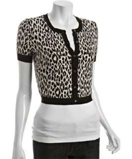 Autumn Cashmere black leopard cotton cropped cardigan   up to
