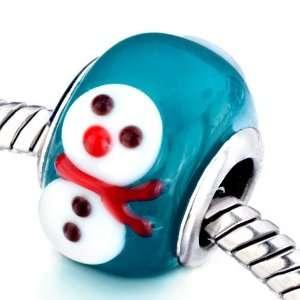 Christmas Gifts Snowman Murano Glass Beads Fits Pandora