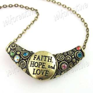 Letters FAITH HOPE & LOVE Carved Necklace 40cm Multi colored Stone
