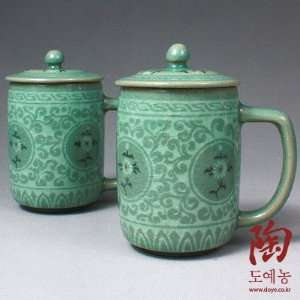 2 Celadon Jade Blue Glaze Chrysanthemum Arabesque Flower Design
