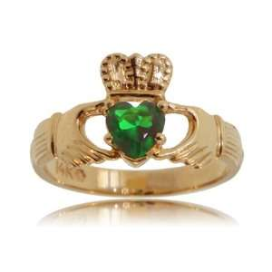 Emerald Heart Claddagh Ring 14K Gold Ladies Band New