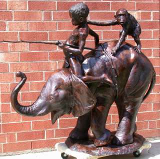 Large Cast Bronze Boy & Monkey Riding Elephant Statue