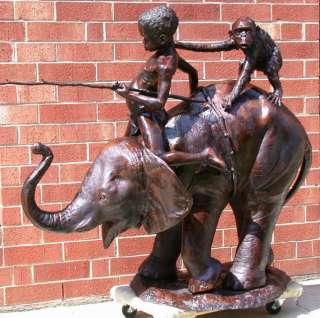 Large Cast Bronze Boy & Monkey Riding Elephant Statue