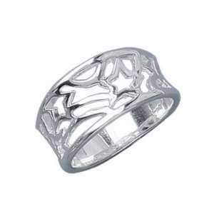 Ladies Sterling Silver Stars Filigree Band Ring Jewelry