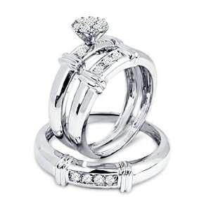 Diamond Engagement Rings Set Wedding Bands White Gold Men Ladies .25ct