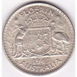 1942 Australia Florin Silver Coin, King George VI