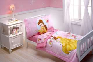 DISNEY PRINCESS BEAUTIFUL BELLE 4PC TODDLER BEDDING SET