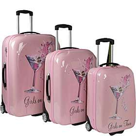 Picture Case Girls On Tour 3 Piece Hardside Luggage Set