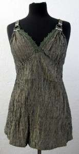 Clothing Womens Camisole Crinkle Tank Top Silk Blend Lace NEW