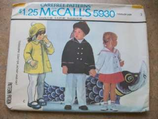 McCalls Pattern 5930 Toddler Coat Jacket Hat Sz 3 Uncut