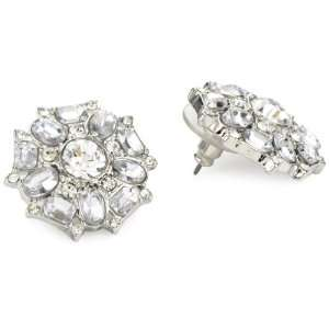 Betsey Johnson Iconic Crystal Large Medallion Stud Earrings