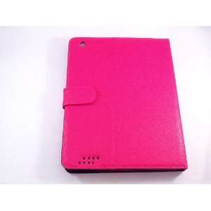Pink PU leather case for apple ipad 2 and 3 Everything