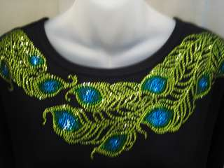 Rhinestone PEACOCK FEATHER Scoop Neckline Top~ Sparkle Bling Shirt