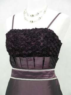 Cherlone Satin Dark Purple Rose Long Prom Ball Gown Wedding/Evening