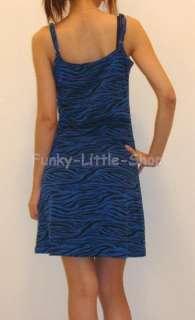 Zebra print mini dress 4 colours punk rock emo club NEW