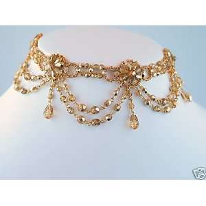 Lace Necklace GOLD, choker style, bridal wedding prom pageant jewelry
