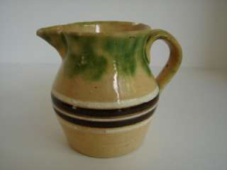 Vintage American Banded Seaweed Mochaware pitcher Yelloware Stoneware