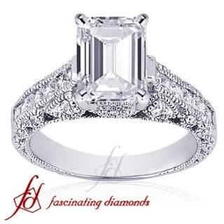 50 Ct Emerald Cut Diamond Engagement Ring Pave VS IGI