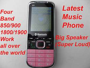 Q3 Pink Quad Band Music Mobile Cell Phone Loud Speaker 2 Sim /4 FM
