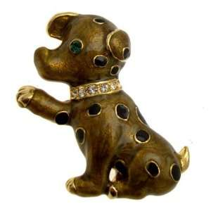 Brown & Black Enamel Spotted Puppy Dog Brooch   Special Offer Jewelry
