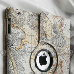 iPad 2 Stylish Map Pattern 360° Rotating Smart Cover PU Leather Case