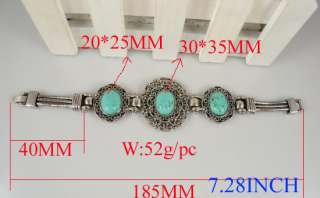 TIBET SILVER TURQUOISE NECKLACE BRACELET EARRING SET S5
