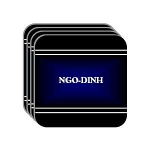 Personal Name Gift   NGO DINH Set of 4 Mini Mousepad Coasters (black