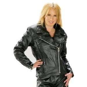 Classic Braided Cruiser Ladies Motorcycle Leather Jacket