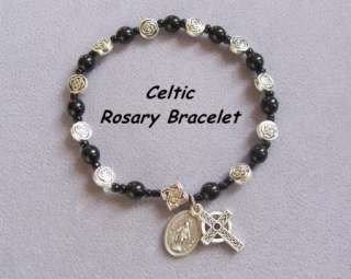 Irish Celtic Cross Rosary Bracelet Miraculous BLACK