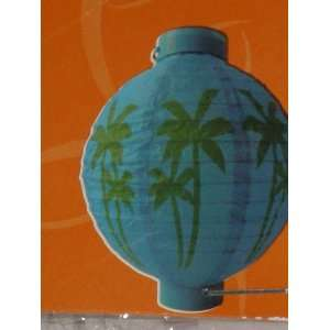 Palm Tree Paper Lantern, Blue Green, Battery Operated