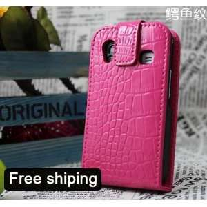 Pink Flip Genuine Leather Case Cover for Samsung Galaxy