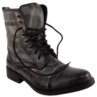 WOMENS BLACK LACE UP MILITARY FASHION ARMY BOOTS