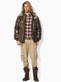 Lauren Down & Feather Puffer Full Zip w/ Detachable Hood Coat
