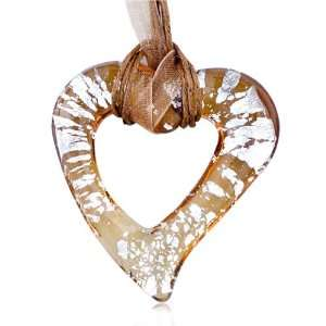 Silver Speckle Amber Open Heart Pendant Necklace Pugster Jewelry