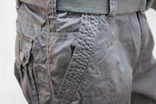 Mens Belted CARGO PANTS Casual Dark Gray 100% Cotton 32 34 36 38 40 42