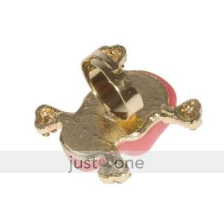 Fashion Women Lady Cubic Zirconia Big Pink Skull Shaped Design Ring