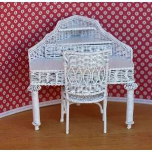 Dollhouse Miniature White Wire Corner Desk and Chair Toys & Games