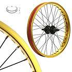 Alloy BMX Bike Wheels Wheelset Narrow Gold