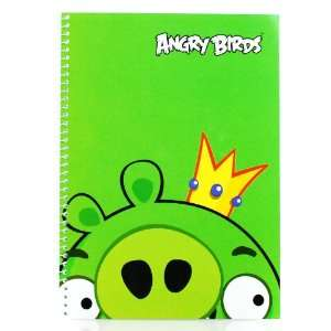 10 in by 7.5 in Angry Bird Note Book   Green Pig King