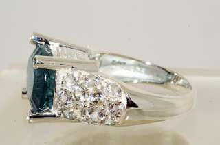 500 10.64CT OVAL CUT BLUE GREEN,WHITE TOPAZ & BLUE DIAMOND RING SIZE