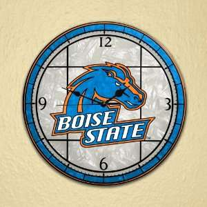NCAA Boise State Broncos Stained Glass Wall Clock