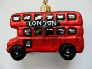 LONDON DOUBLE DECKER BUS EUROPEAN BLOWN GLASS CHRISTMAS TREE ORNAMENT
