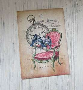 12 Tags  Blue Birds and Chair Pink,French Label, Green,Watch,Textured