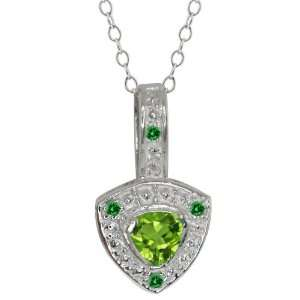 50 Ct Trillion Green Peridot and Green Diamond 18k White Gold Pendant