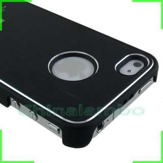 4G 4S Black Luxury Brushed Metal Aluminum Rubberized Case Cover