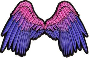 BEAUTIFUL ANGEL WINGS PINK BLUE PURPLE Lady BACK Patch
