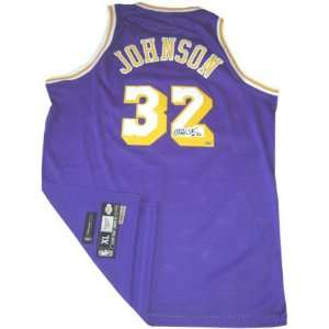 Magic Johnson Los Angeles Lakers Autographed Purple Reebok
